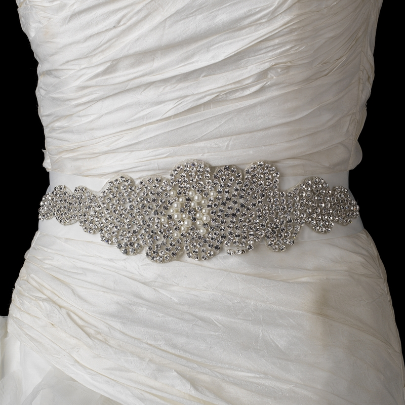 Pearl & Rhinestone Glitz Wedding Bridal Sash Belt « Wedding Dresses ...